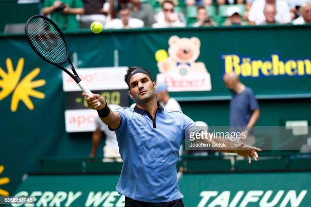 Roger Federer of Switzerland returns the ball during the men's singles match against Mischa Zverev of Germany on Day 6 of the Gerry Weber Open 2017...