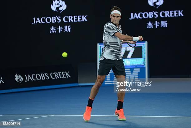 Roger Federer of Switzerland returns the ball in his Australian Open 2017 men's final match against Rafael Nadal of Spain at Rod Laver Arena, in...