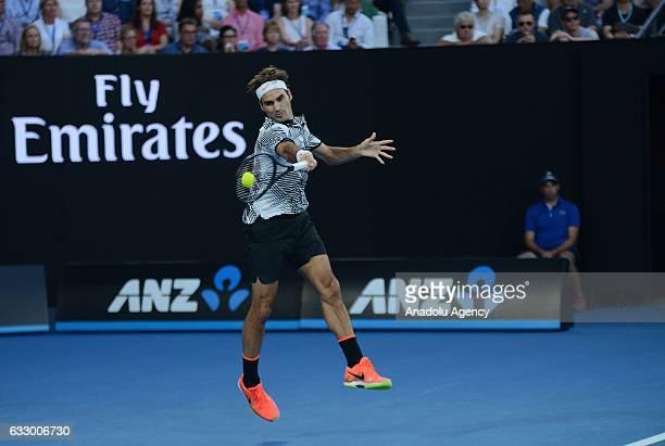 Roger Federer of Switzerland returns the ball in his Australian Open 2017 men's final match against Rafael Nadal of Spain at Rod Laver Arena in...