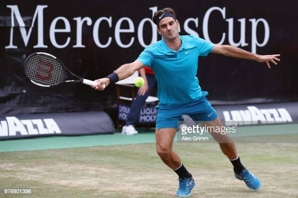 Roger Federer of Switzerland returns the ball to Milos Raonic of Canada during the final match on day 7 of the Mercedes Cup at Tennisclub Weissenhof...
