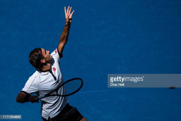 Roger Federer of Switzerland serves a shot during his Men's Singles third round match against Daniel Evans of Germany on day five of the 2019 US Open...
