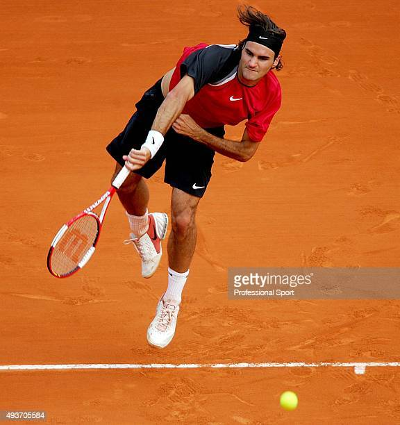 Roger Federer of Switzerland serves against Greg Rusedski of Great Britain during the ATP Masters Series at the Monte Carlo Country Club April 12...