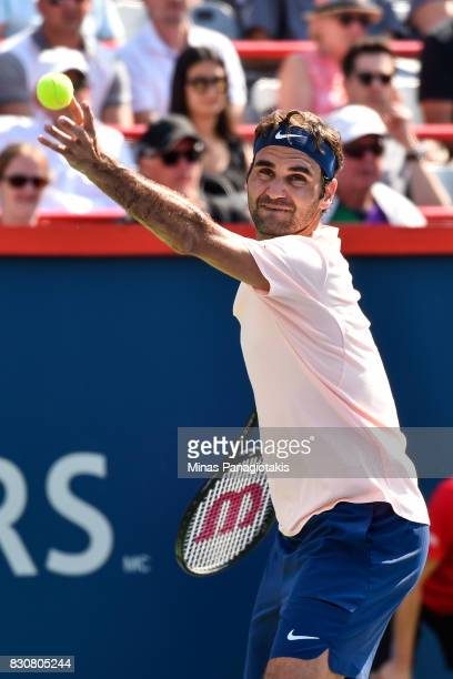 Roger Federer of Switzerland serves against Robin Haase of Netherlands during day nine of the Rogers Cup presented by National Bank at Uniprix...