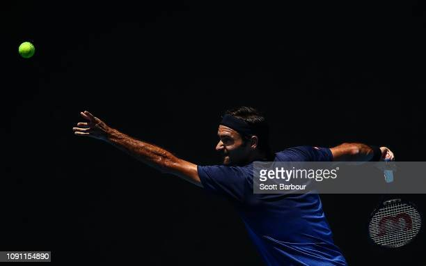 Roger Federer of Switzerland serves during a practice session ahead of the 2019 Australian Open at Melbourne Park on January 08 2019 in Melbourne...