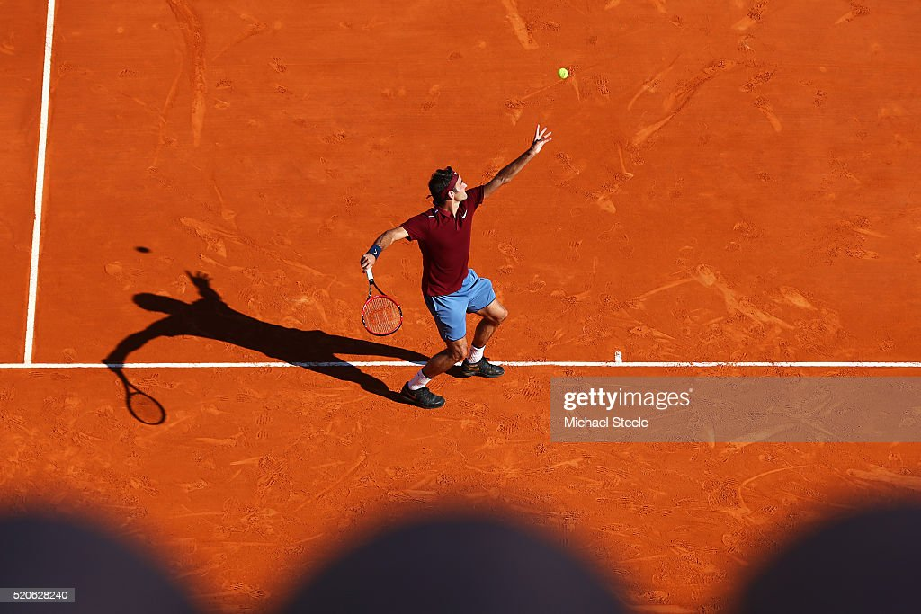 Roger Federer of Switzerland serves during the second round match against Guillermo Garcia-Lopez of Spain on day three of the Monte Carlo Rolex Masters at Monte-Carlo Sporting Club on April 12, 2016 in Monte-Carlo, Monaco.