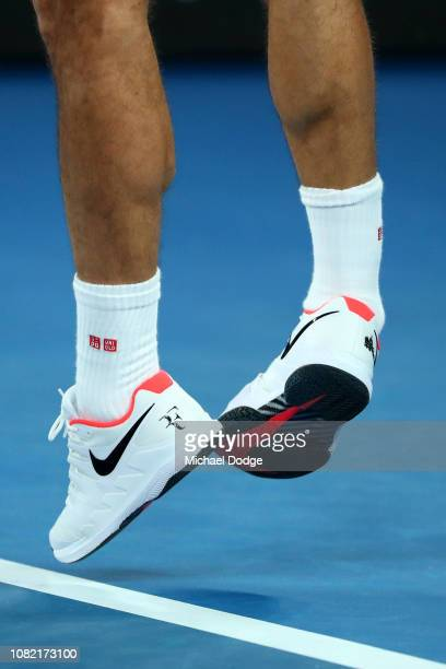 Roger Federer of Switzerland serves his first round match against Denis Istomin of Uzbekistan during day one of the 2019 Australian Open at Melbourne...