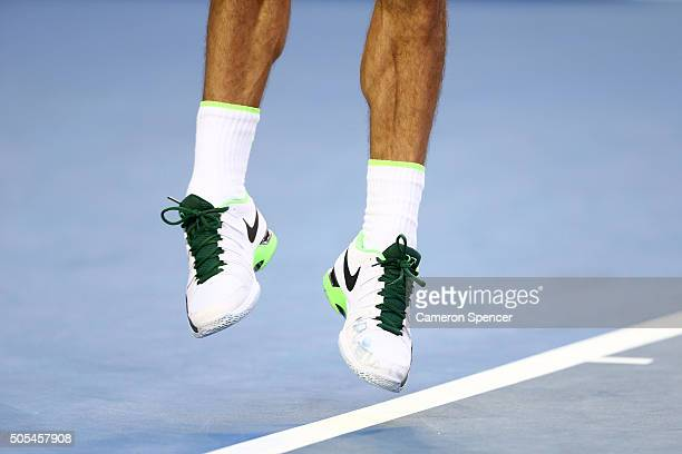 Roger Federer of Switzerland serves in his first round match against Nikoloz Basilashvili of Georgia during day one of the 2016 Australian Open at...