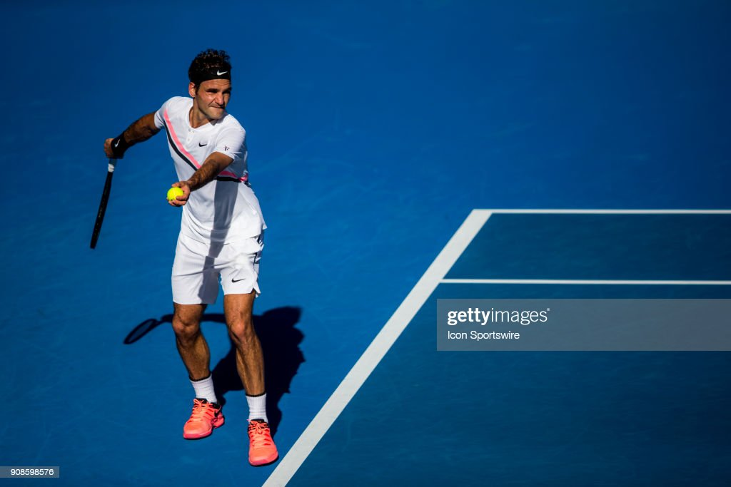 Tennis jan 22 australian open pictures getty images roger federer of switzerland serves in his fourth round match during the 2018 australian open on voltagebd Image collections