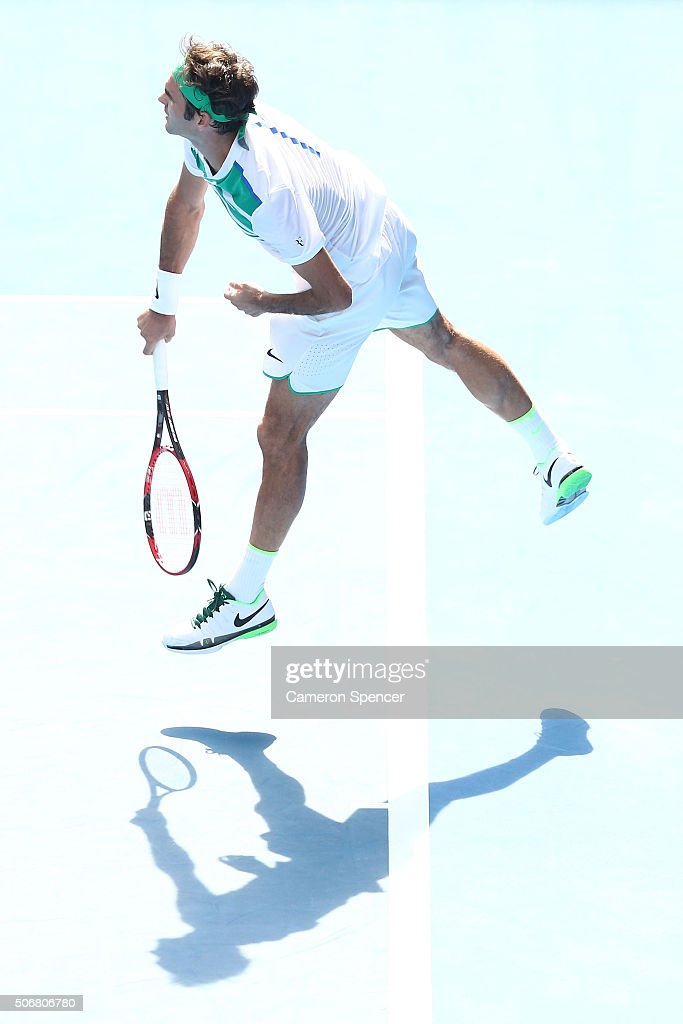 Roger Federer of Switzerland serves in his quarter final match against Tomas Berdych of the Czech Republic during day nine of the 2016 Australian Open at Melbourne Park on January 26, 2016 in Melbourne, Australia.