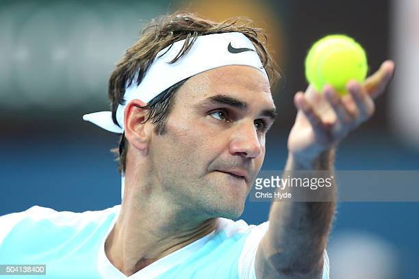 Roger Federer of Switzerland serves in his semi final match against Dominic Thiem of Austria during day seven of the 2016 Brisbane International at...