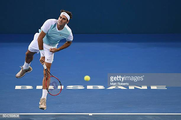 Roger Federer of Switzerland serves in the Mens Final against Milos Raonic of Canada during day eight of the 2016 Brisbane International at Pat...