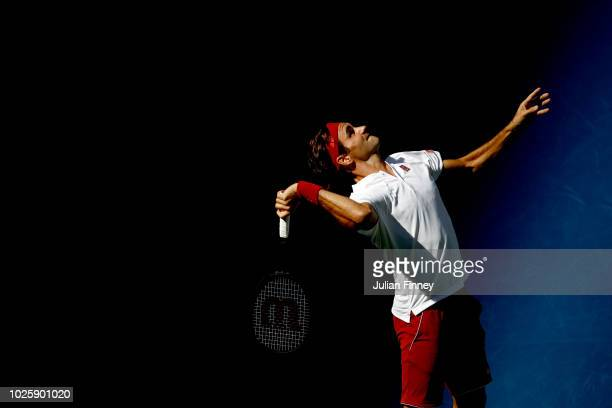 Roger Federer of Switzerland serves the ball during his men's singles third round match against Nick Kyrgios of Australia on Day Six of the 2018 US...