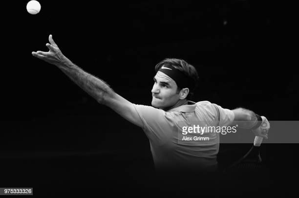 Roger Federer of Switzerland serves the ball to Guido Pella of Argentina during day 5 of the Mercedes Cup at Tennisclub Weissenhof on June 15, 2018...