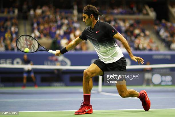 Roger Federer of Switzerland serves to Feliciano Lopez of Spain during their third round Men's Singles match on Day Six of the 2017 US Open at the...