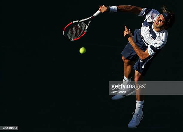 Roger Federer of Switzerland serves to Guillermo Canas of Argentina during the Pacific Life Open on March 11, 2007 at the Indian Wells Tennis Garden...