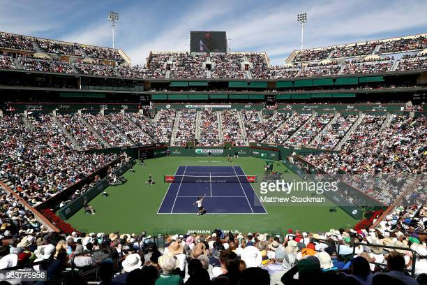Roger Federer of Switzerland serves to Juan Martin Del Potro of Argentina after their match during the men's final on Day 14 of the BNP Paribas Open...
