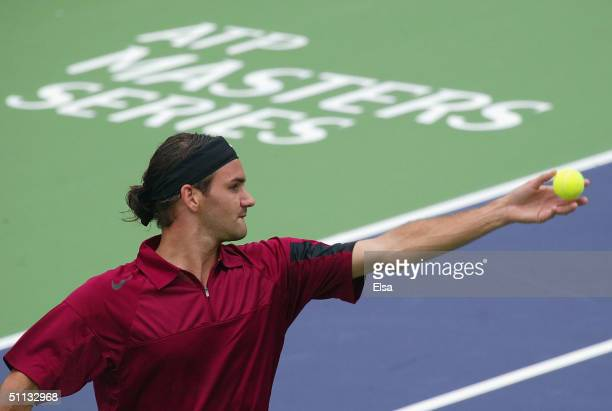 Roger Federer of Switzerland serves to Thomas Johansson of Sweden during the Tennis Masters Canada on July 31, 2004 at the Rexall Center in Toronto,...