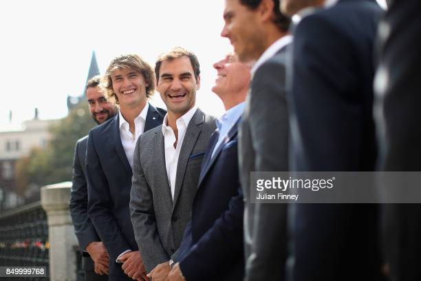 Roger Federer of Switzerland shares a joke with his team mates ahead of the Laver Cup on September 20 2017 in Prague Czech Republic The Laver Cup...