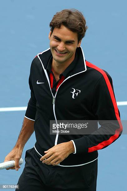 Roger Federer of Switzerland smiles during Arthur Ashe Kid's Day at the 2009 US Open at the Billie Jean King National Tennis Center on August 29 2009...