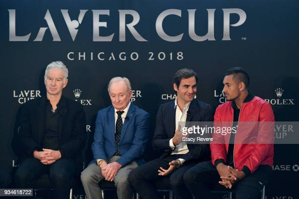Roger Federer of Switzerland speaks to media at the Chicago Athletic Association during the Laver Cup 2018 Chicago Launch on March 19 2018 in Chicago...