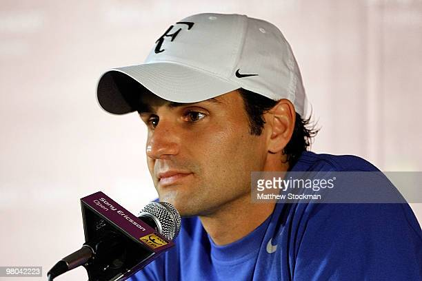 Roger Federer of Switzerland speaks to the media at a press conference during day three of the 2010 Sony Ericsson Open at Crandon Park Tennis Center...