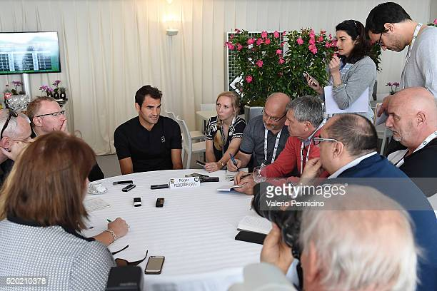 Roger Federer of Switzerland speaks with journalist during media day during day One of the ATP Monte Carlo Masters at the MonteCarlo Country Club on...