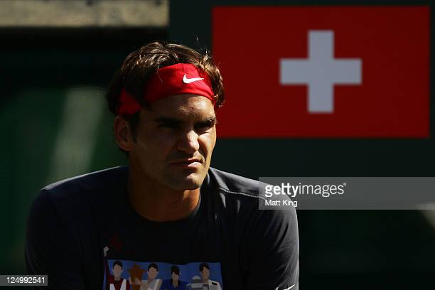 Roger Federer of Switzerland takes a break during a practice session ahead of the Davis Cup World Group Playoff Tie between Australia and Switzerland...