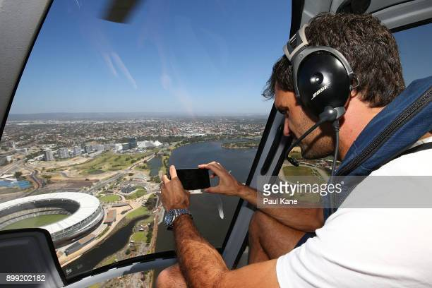 Roger Federer of Switzerland takes a photo from a helicopter onroute back from Rottnest Island ahead of the 2018 Hopman Cup on December 28 2017 in...