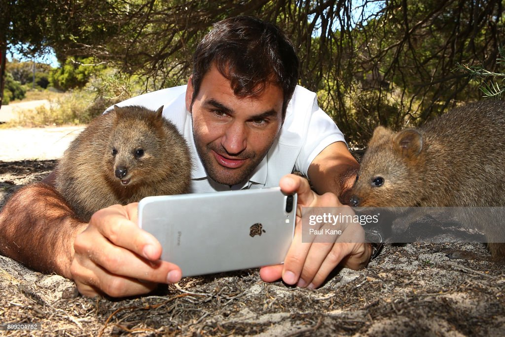 Roger Federer of Switzerland takes a selfie with a Quokka at Rottnest Island ahead of the 2018 Hopman Cup on December 28, 2017 in Perth, Australia.