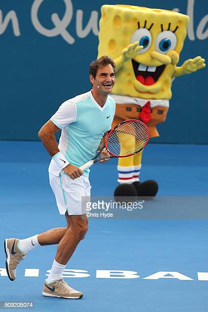 Roger Federer of Switzerland takes part in the Pat Rafter Arena Spectacular during day one of the 2016 Brisbane International at Pat Rafter Arena on...