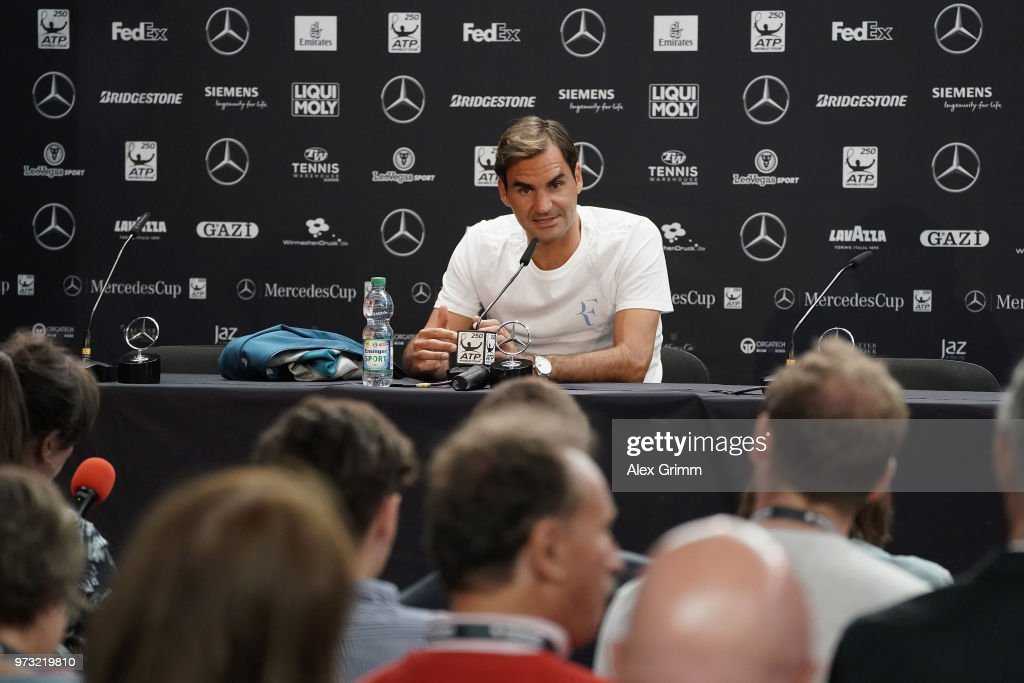Roger Federer of Switzerland talks to the media after winning his match against Mischa Zverev of Germany during day 3 of the Mercedes Cup at Tennisclub Weissenhof on June 13, 2018 in Stuttgart, Germany.