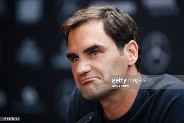 Roger Federer of Switzerland talks to the media during a press conference on day 1 of the Mercedes Cup at Tennisclub Weissenhof on June 11, 2018 in...