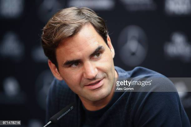 Roger Federer of Switzerland talks to the media during a press conference on day 1 of the Mercedes Cup at Tennisclub Weissenhof on June 11 2018 in...