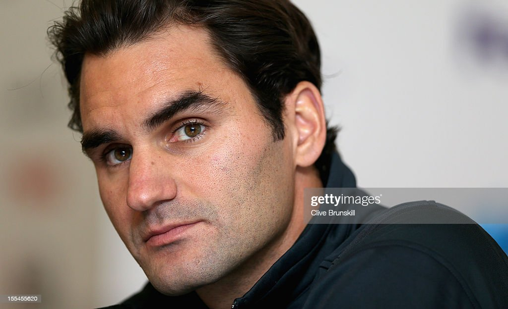 Roger Federer of Switzerland talks to the media during a press conference prior to the start of ATP World Tour Finals Tennis at the O2 Arena on November 4, 2012 in London, England.