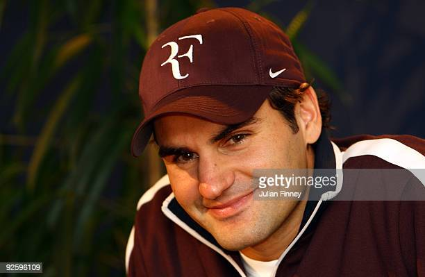 Roger Federer of Switzerland talks to the media during previews for the Davidoff Swiss Indoors Tennis at St Jakobshalle on November 1 2009 in Basel...