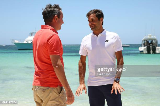 Roger Federer of Switzerland talks with Western Australian Premier Mark McGowan at Rottnest Island ahead of the 2018 Hopman Cup on December 28 2017...