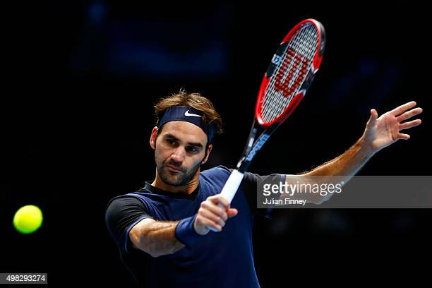 Roger Federer of Switzerland volleys during the men's singles final against Novak Djokovic of Serbia on day eight of the Barclays ATP World Tour...