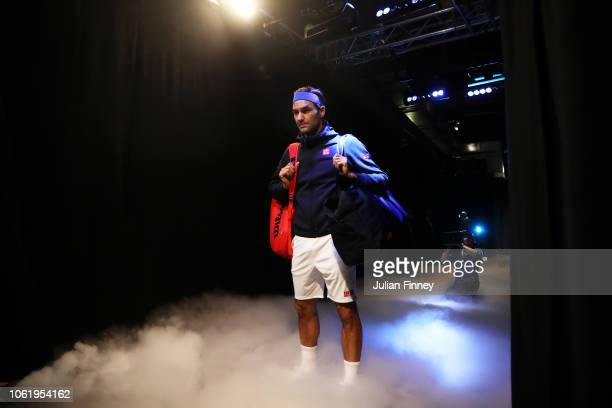 Roger Federer of Switzerland waits in the tunnel before his round robin match against Kevin Anderson of South Africa during Day Five of the Nitto ATP...