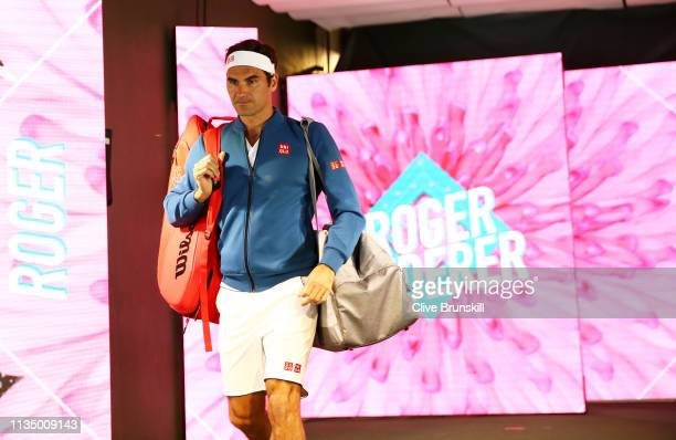 Roger Federer of Switzerland walks down the players tunnel to play against Peter Gojowczyk of Germany during their men's singles second round match...