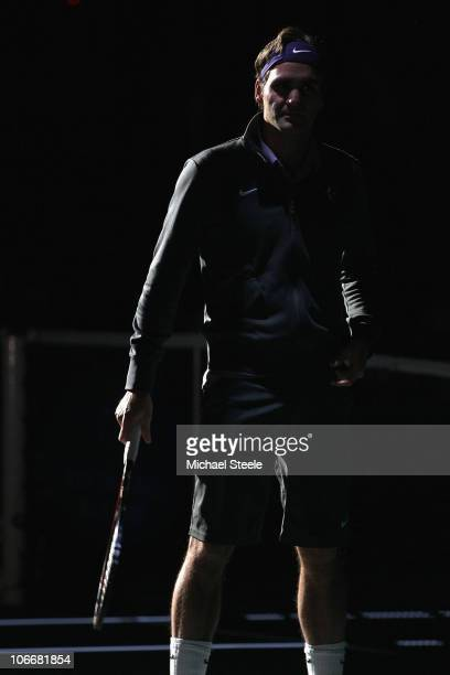 Roger Federer of Switzerland walks onto centre court prior to his match against Richard Gasquet of France during Day Four of the ATP Masters Series...