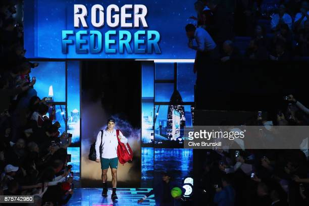 Roger Federer of Switzerland walks out prior to the Singles Semi Final match against David Goffin of Belgium day seven of the Nitto ATP World Tour...