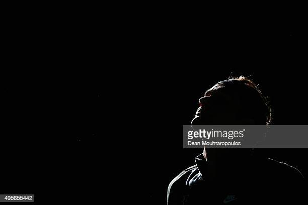 Roger Federer of Switzerland walks out to play his match against Andreas Seppi of Italy during Day 3 of the BNP Paribas Masters held at AccorHotels...