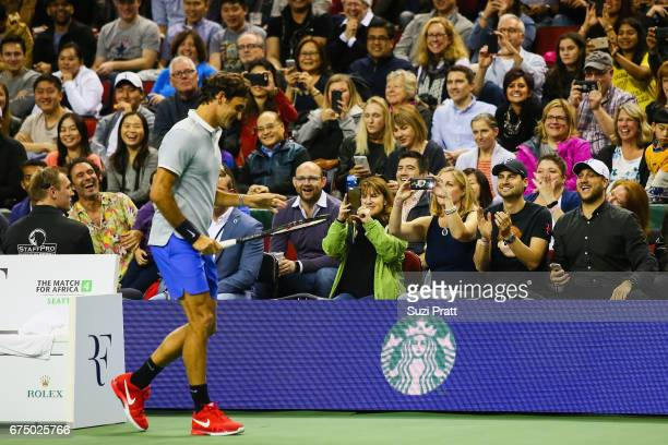 Roger Federer of Switzerland warms up at the Match For Africa 4 exhibition match at KeyArena on April 29, 2017 in Seattle, Washington.