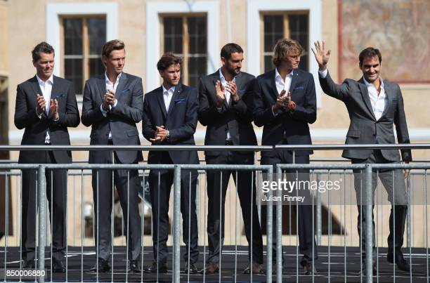 Roger Federer of Switzerland waves to fans ahead of the Laver Cup on September 20 2017 in Prague Czech Republic The Laver Cup consists of six...