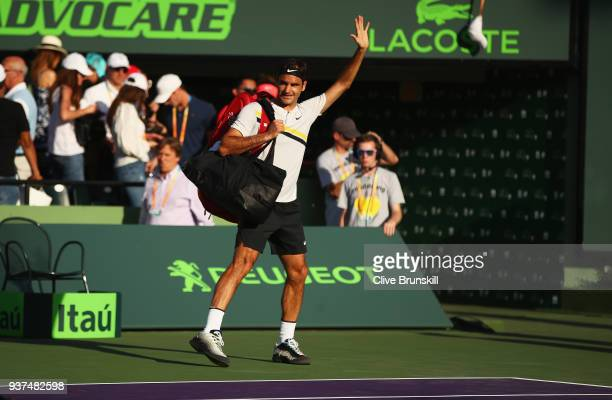 Roger Federer of Switzerland waves to the crowd after his three set defeat by Thanasi Kokkinakis of Australia in their second round match during the...