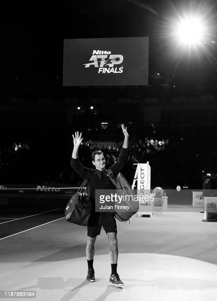 Roger Federer of Switzerland waves to the crowd after his victory over Novak Djokovic of Serbia during Day Five of the Nitto ATP World Tour Finals at...