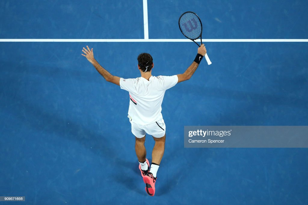 Roger Federer of Switzerland waves to the crowd after winning his quarter-final match against Tomas Berdych of the Czech Republic on day 10 of the 2018 Australian Open at Melbourne Park on January 24, 2018 in Melbourne, Australia.