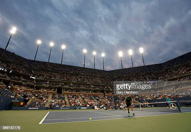 Roger Federer of Switzerland wins a point against Marcel Granollers of Spain during their match at the US Open tennis championship in New York August...