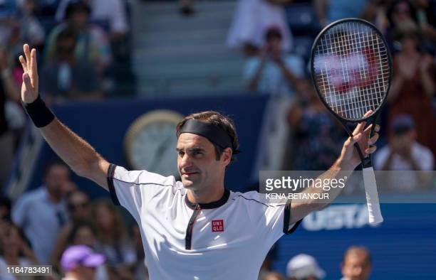Roger Federer of Switzerland wins against Daniel Evans of Great Britain during their Round Three Men's Singles match at the 2019 US Open at the USTA...