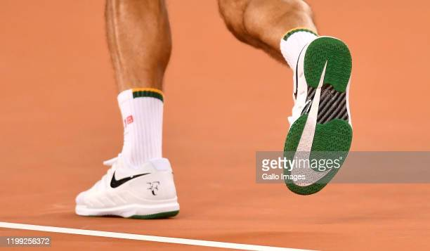 Roger Federer of Switzerland's nike shoes during the Match in Africa between Roger Federer and Rafael Nadal at Cape Town Stadium on February 07 2020...